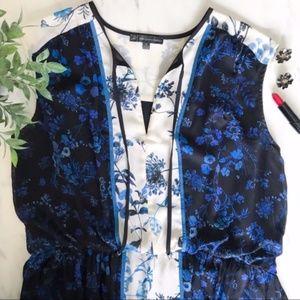 Adrianna Pappell Blue Floral Blouson Peasant Dress